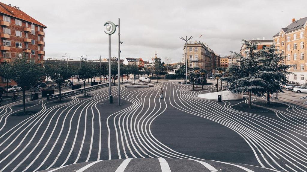 Superkilen park in Nørrebro, Copenhagen