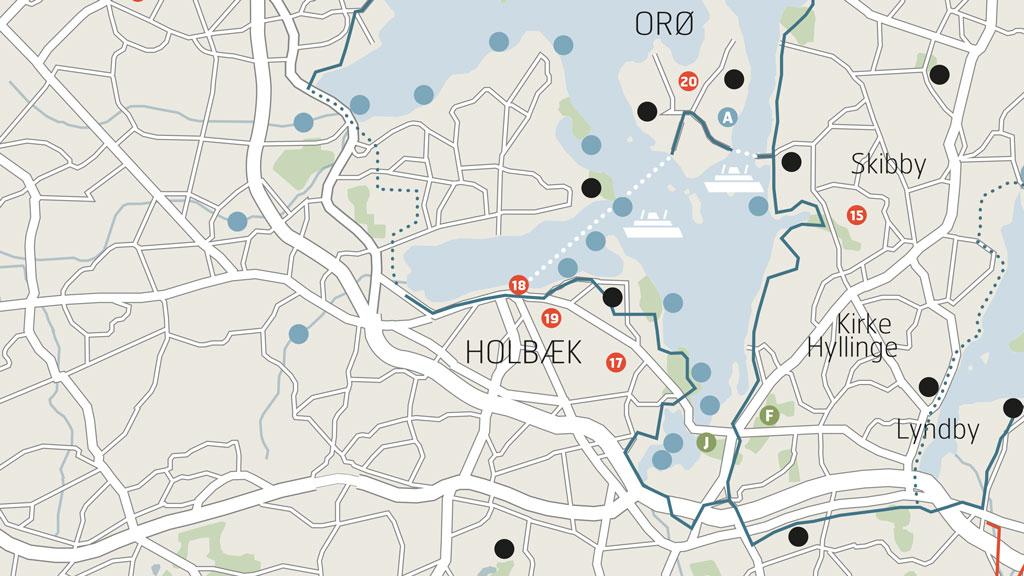 Kort over Fjordstien cykelruten med ø-hop til Orø