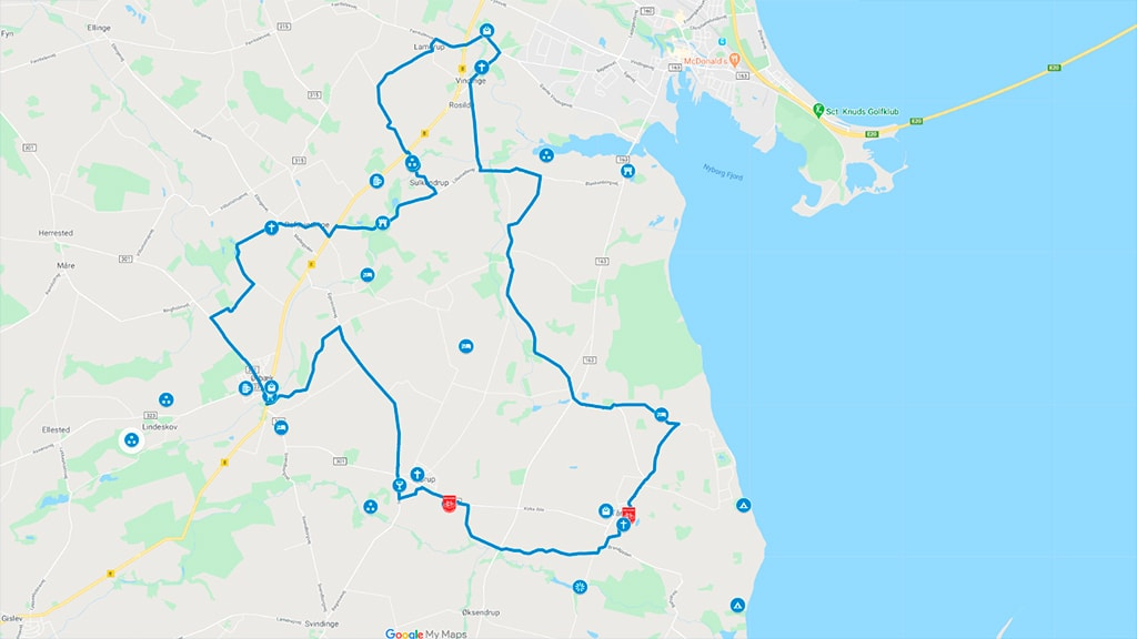 Kort over cykelrute Ørbæk Øst ved Nyborg