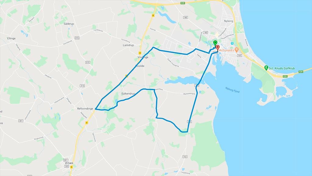 Kort der viser PostNord Danmark Rundt enkeltstartsruten i Nyborg 2016