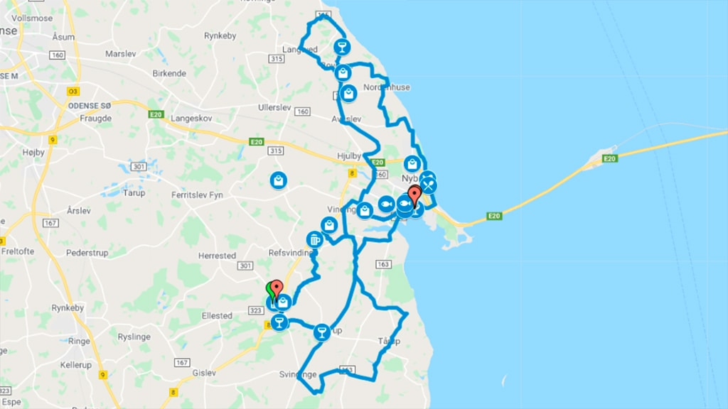 Kort der viser cykelruter til kulinariske oplevelser i Nyborg