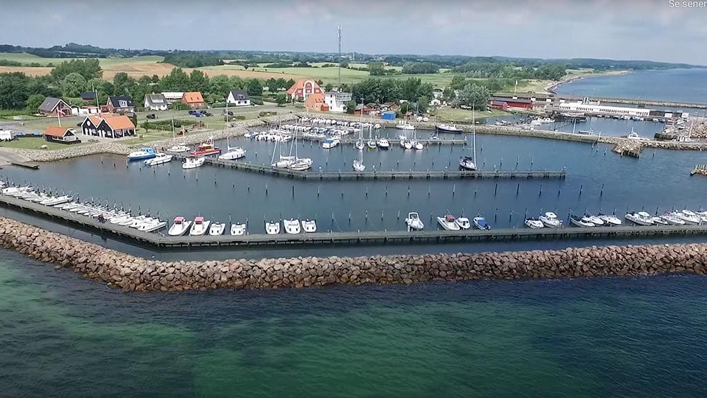 Drone billede fra Spodsbjerg Turistbådehavn