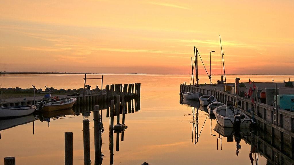 Solnedgang i Ristinge Havn