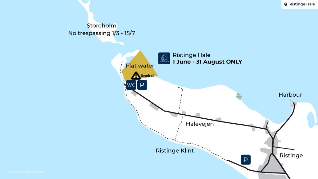 Kort over surf ved Strynø