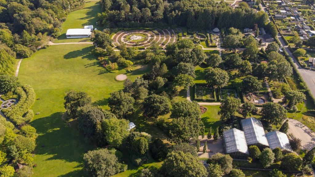 Geografisk Have Luftfoto over haven i Kolding