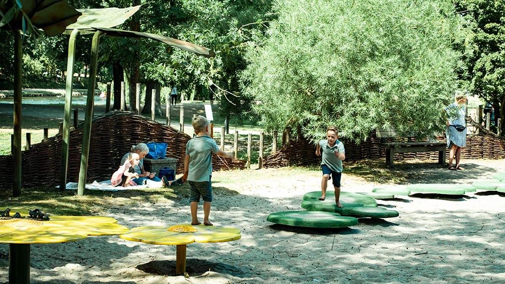 Børn på skræppeblade på legepladsen