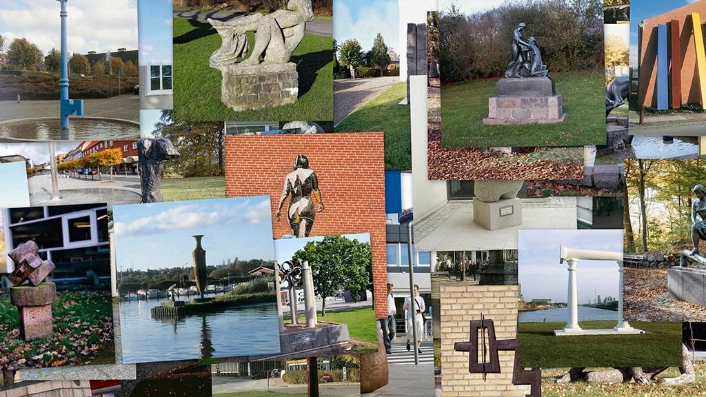 Kollage af skulpturer og kunst i Randers