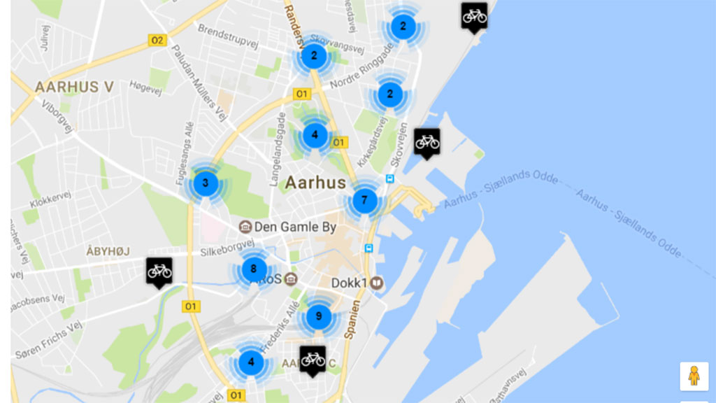 Free city bikes in Aarhus | VisitAarhus Citibike Location Map on
